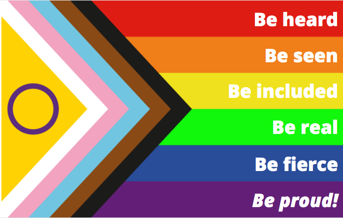 Image displays LGBTQ flag with the text: Be heard Be seen Be included Be real Be fierce Be proud!